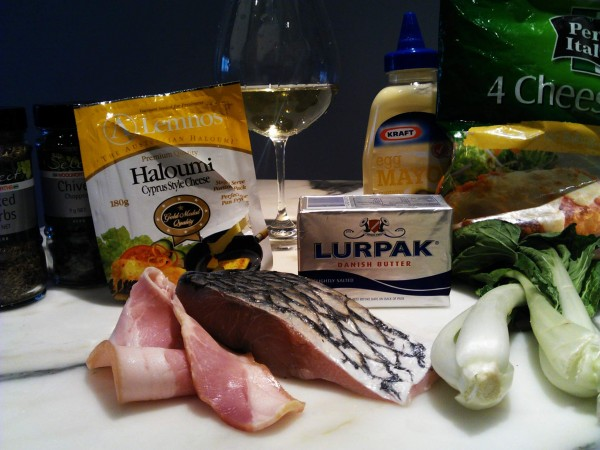 Barramundi bacon bok choy lurpak butter haloumi chardonnay wine