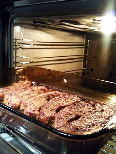 Pork strips semi cooked in the oven